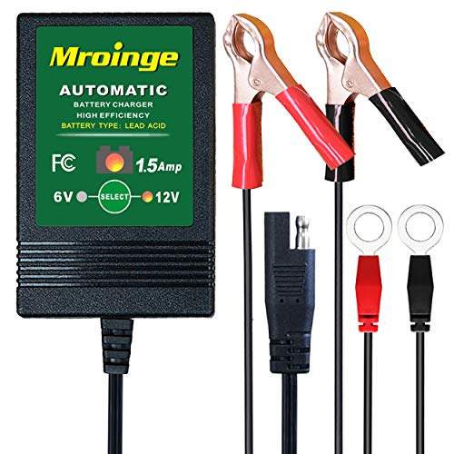 Mroinge Automatic Trickle Battery Charger Maintainer 6&12V 1500mA Automotive Smart For Car Motorcycle Lawn Mower, Sla, Atv, Agm, Gel, Cell, Lead Acid Batteries