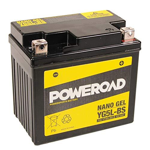 12V 5Ah Gel Batterie YG5L-BS -YTX5L-BS von Poweroad für Motorroller inkl. 7,50EUR Pfand
