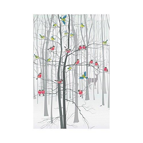 Interestprint branches d'oiseaux de noel en polyester Garden Drapeau Maison Banner 30,5 x 45,7 cm, Winter Forest Arbre décoratif Drapeau pour fête Yard Home Décor extérieur