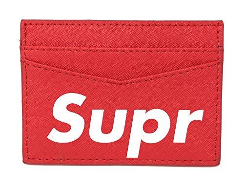 SUP [ Supreme kaarthouder/portemonnee ] rood echt leer met wit logo - echt leer