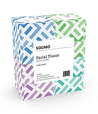 Amazon Brand - Solimo Facial Tissues with Lotion (4 Cube Boxes), 75 Tissues per Box (300 Tissues Total)