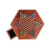 ZQYX Juego de Mesa de Damas Chinas con cajón de Almacenamiento y mármol de Vidrio de Colores, Damas Chinas de Madera con Sombra roja Natural de 12.5 Pulgadas, Adecuado para Juegos Familiares