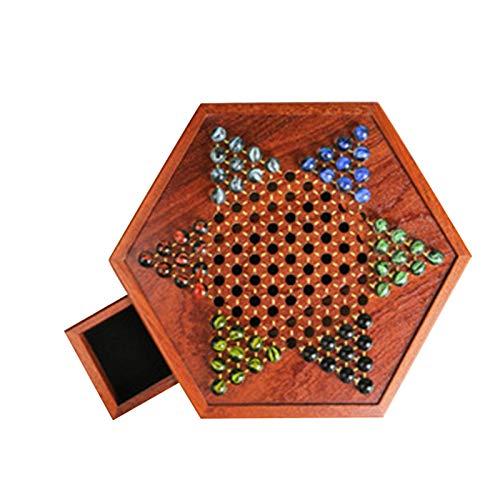 bozitian Damas chinas, juego de mesa de ajedrez de madera con cajón de almacenamiento de mármol de vidrio, Chequers chinos para niños y adultos (hasta seis jugadores)