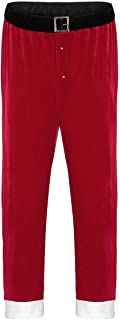 Men's Christmas Santa Claus Costume Red Velvet Lounge Cosplay Long Pant