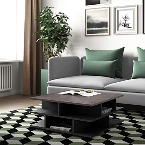 Temahome Mille-vuur salontafel, particle board, zwart en beton, 70 x 70 x 28,9 cm (BxDxH)