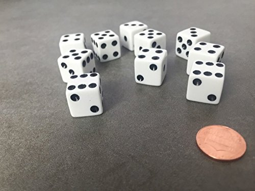 Set of 10 Six Sided D6 16mm Standard Dice Die - White with Black Pips