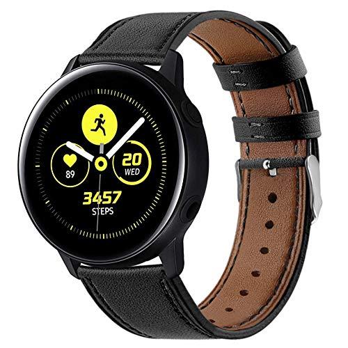 Correa Compatible con Huawei Watch GT/GT2 42mm/Honor Magic Watch 2 42mm/Samsung Galaxy Watch Active 2/Galaxy Watch 42mm Correas de Cuero 20mm Banda de Piel para Hombre y Mujer-Negro