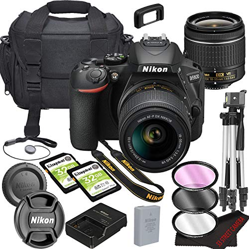 Nikon D5600 DSLR Camera Bundle with 18-55mm VR Lens | Built-in Wi-Fi|24.2 MP CMOS Sensor | |EXPEED 4 Image Processor and Full HD Videos + 64GB Memory(17pcs)