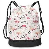 zhangyuB Girls Boys Bolsa con cordón Theft Proof Lightweight Beam Bag, Sport Shoulder Backpack - Lovely Pink Flamingo Palm Tree Waterproof Backpack Soccer Basketball Bag