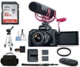 Canon EOS M50 Mirrorless Digital Camera with 15-45mm Lens Video Creator Kit - Black (USA Warranty) Bundle, Includes: 32GB SDHC Class 10 Memory Card + Full Size Tripod + Spare Battery + More