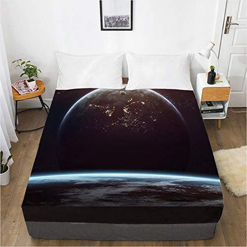 huobeibei impresión Digital 3D sábana Protector de colchón Colcha Skystar 120x200x30cm Paisaje 043-Negro-F