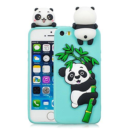 Hülle für iPhone SE, iPhone 5S / 5 Hülle Silikon, Flexible Weiche Silikon Gel Case Tasche mit 3D Panda Handyhülle Schutzhülle Stoßfest Etui Schale Cover, Hellblau