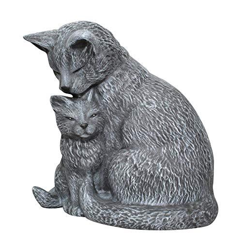 Tiefes Kunsthandwerk Stein-figur Katze mit Jungtier - Schiefergrau, wetterfeste Katzenfigur als Deko-Figur für Wohnung, Haus und Garten