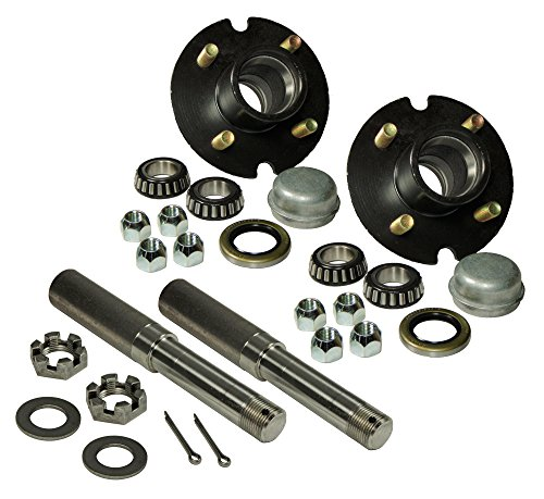 New Trailer AXLE KIT Assembly w// 4 on 4 Bolt Idler Hub /& 1 Round BT8 Spindle