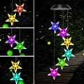Mosteck Wind Chime, Solar Wind Chimes Outdoor Color-Changing Stars Chimes Mobile LED Stars Wind Chimes, Best Birthday Gifts for Mother Grandma, Garden Decor Patio Yard, Gardening Outdoor Decor