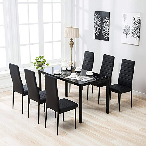 Mecor 7 Piece Kitchen Dining Set, Glass Top Table with 6 Leather Chairs Breakfast Furniture Black