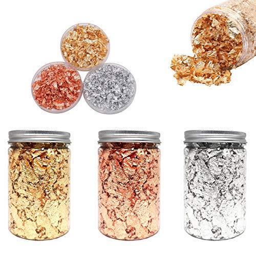 GOTONE Hojuelas de pan de oro - Color 2.5 Imitación de oro, plata, color cobre 99% de cobre Copos dorados, 3 botellas de hojuelas de papel metálico de arte de uñas, arte de resina, DIY (10g / botella)