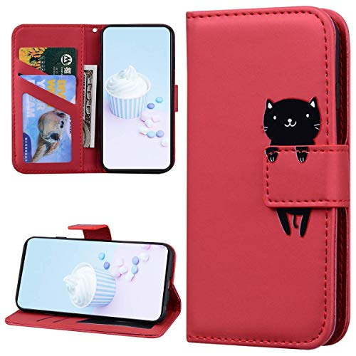 Handyhülle Kompatibel mit Samsung Galaxy A01 Hülle Leder Flip Case,Cute Katze Tier Muster Schutzhülle Brieftasche im Bookstyle Lederhülle Magnet Kartenfächer Klapphülle Handytasche Case,Rot