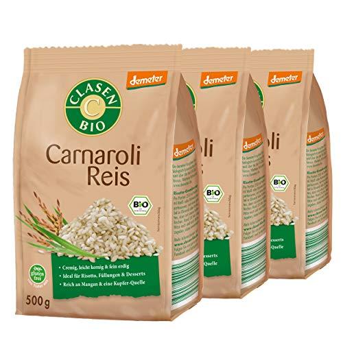 3x CLASEN BIO Carnaroli Reis Premium Demeter Qualität Perfekt für Risotto - 500 g