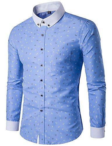 HAN-NMC Men's Casual/Simple Quotidienne Printemps Automne Shirt,Imprimer col boutonné Manches Longues Polyester,L,Light Blue