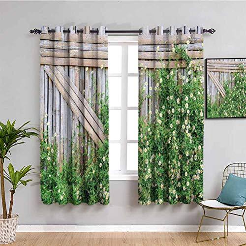 Cortina opaca para decoración de casa de granja, valla de bambú, cubierta por Ivy Daisy Flower Blooms manzanilla pétalos, imagen traer belleza verde y marrón claro W63 x L63 pulgadas