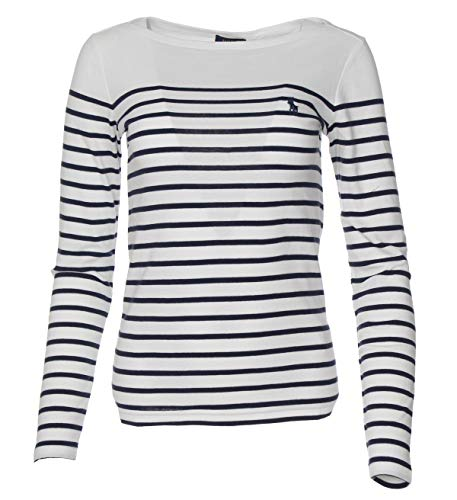 Ralph Lauren Damen Pullover - Horizontal gestreift (Weiß/Navy, S)