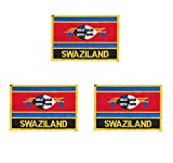 3 Stück Swasiland bestickte Flaggen-Emblem-Applikation zum Aufbügeln oder Aufnähen.