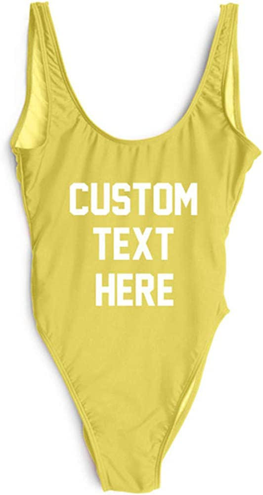 Personalized Bathing Suits Custom Text One-Piece Suit Letter Print Swimsuit Wedding Gift Monokini…