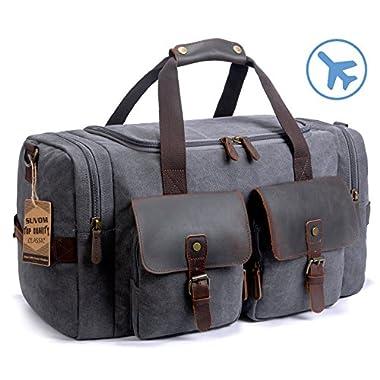 SUVOM Leather Canvas Duffle Bag Weekend Overnight Bag Travel Tote Duffel Luggage (Dark Grey)