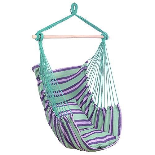 Hammock Chair,Cotton Canvas Hanging Rope Chair with Pillows for Any Indoor Or Outdoor Spaces,Green