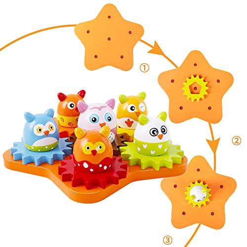 Arkmiido Zahnrad Spielzeug Holz, Montessori Spielzeug Lernspielzeug Pädagogisches Geschenk für Kinder 1 2 3 ,Drehbare Zahnräder aus Holz