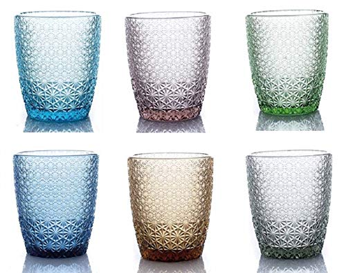 kedea Bicchieri Acqua Colorati in Vetro, Lavabili in lavastoviglie, Bicchieri Pasta Colore, Pave' Mix 6 Colori, Blu, Azzurro, Giallo Ambra, Verde, Rosa, Grigio fumè.