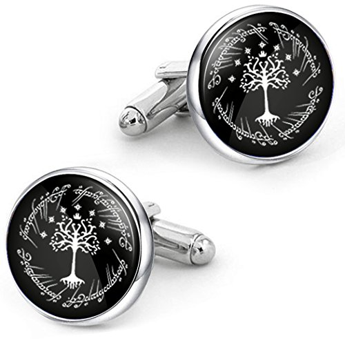 Kooer White Tree Cufflinks Personalized Tree of Life Christmas Wedding Cuff Links Gift For Men Father Dad Husband Groom (Silver cuff links)