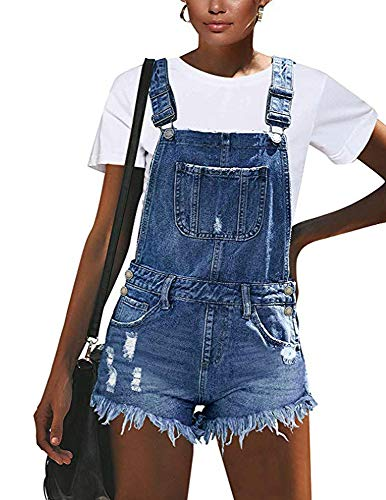 Damen Trend Burrs Ripped Hole Jeans Shorts Jumpsuit, Latzhose Latzhose Boyfriend Denim Shorts Jumpsuit