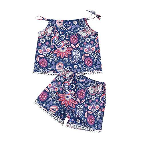 Ropa de bebé para niñas pequeñas con borla floral a rayas Sling Crop Tank Tops pantalones cortos para niños de verano