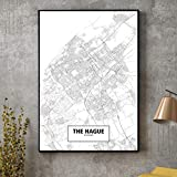 QINGRENJIE Wandkunst Bild Den HAAG Schwarz Weiß Stadtplan