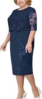 Women's Dress, Women Fashion Formal Feast Lace Elegant Mother of Bride Dress Knee Length Plus Size Dress
