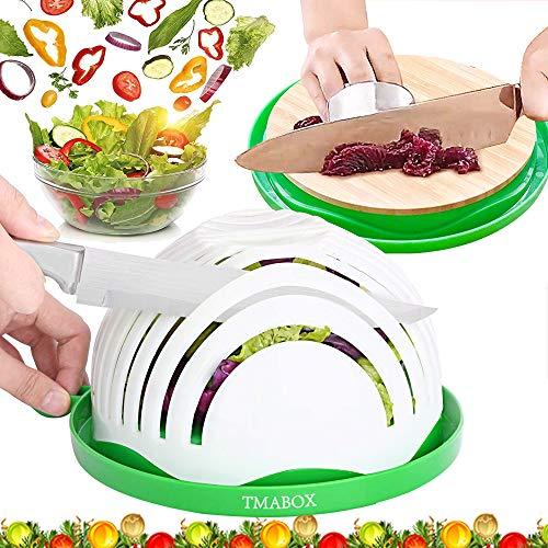 Salad Cutter Bowl,Bamboo Base 2021 Upgrade Ecological Cut Bowl,Fruit Vegetable Salad Cut Bowl,Natural Bamboo Cutting Board,Family Size
