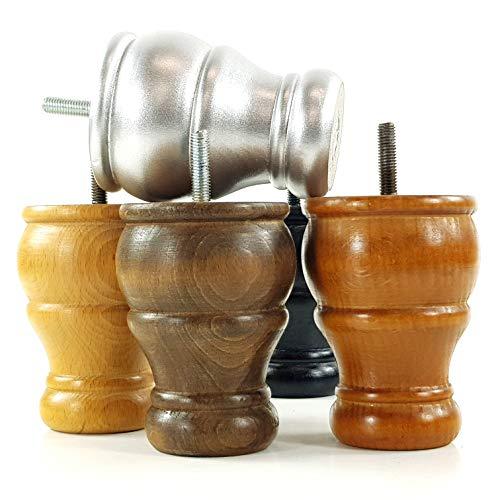 4 x Holzfüße für Duttfüße, goldfarben, Ersatzfüße für Sofas, Stühle, Fußhocker, M10 (10 mm) CWC802