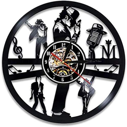 hxjie Michael Jackson Orologio da Parete Design Moderno Tema Musicale Adesivo 3D Pop King Record Orologio Orologio Home Decor Regalo Uomo 008