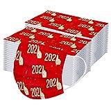 tohole 50 Stück Silvester Erwachsene Einmal Mundschutz Weihnachtsmotiv 2021 Frohes Neues Jahr Drucken Atmungsaktiv Mund Und Nasenschutz bunt Staubdicht Bandana Halstuch