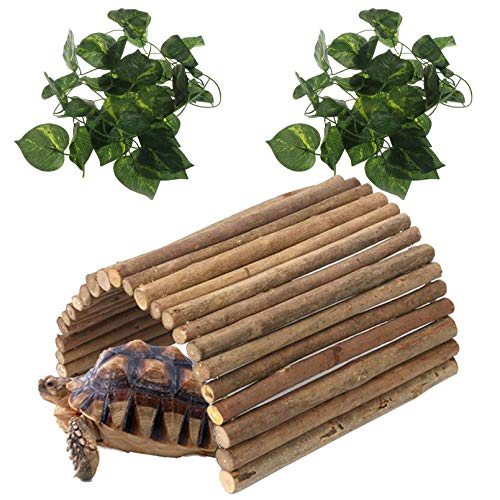 Hamiledyi Reptile Decor Hideout Wooden Guinea Pig Bridge Bendy Tunnel for Rodents Chewing Climbing Ladder Hideaway for Gecko Spiders Lizards Snakes Turtle Gerbil Hedgehog Rat