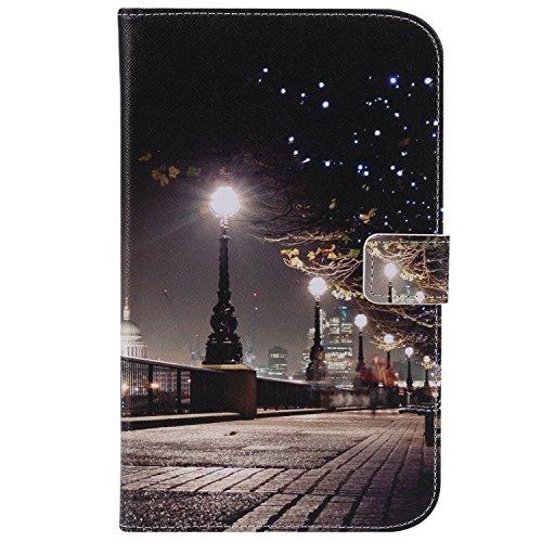 Shinyzone Hülle Kompatibel mit Samsung Galaxy Tab 3 7.0 Zoll T210,PU Leder Flip Smart Stand Schutzhülle mit Kartenfächer Magnetverschluss,Silikonhülle TPU Bumper,Stadtbild
