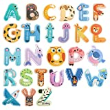 USATDD Jumbo Magnetic Letters Colorful ABC Alphabet Animal Shape Toys Large Uppercase Refrigerator Fridge Magnets Preschool Educational Toy Set Learning Spelling Game for 3 4 5 Year Old Toddler Kids