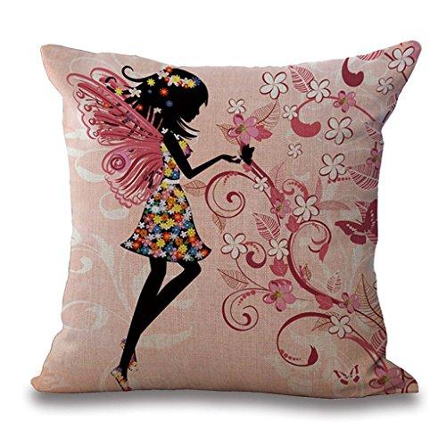 Topker Flores Chica de Hadas con Pillow Covers,Girl el Caballo de ala Ropa de Cama de algodón Funda de Almohada Funda de cojín Chica con alas