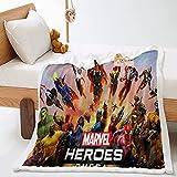 BMKJ Marvel Avengers - Manta infantil con impresión 3D de microfibra y forro polar supersuave (150 x 200 cm)