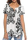 UMIPUBO Bluas de Mujer Camisa Casual Verano T Shirts Tops Elegante Algodón Blusa Manga Corta Camisa Suelta Mujer
