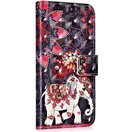 Saceebe Compatible avec Huawei P30 Coque Étui Portefeuille Cuir Housse Rétro Coloré Motif Glitter Housse Protection Stand Flip Case Magnétique Porte-Cartes,éléphant Mandala Fleur