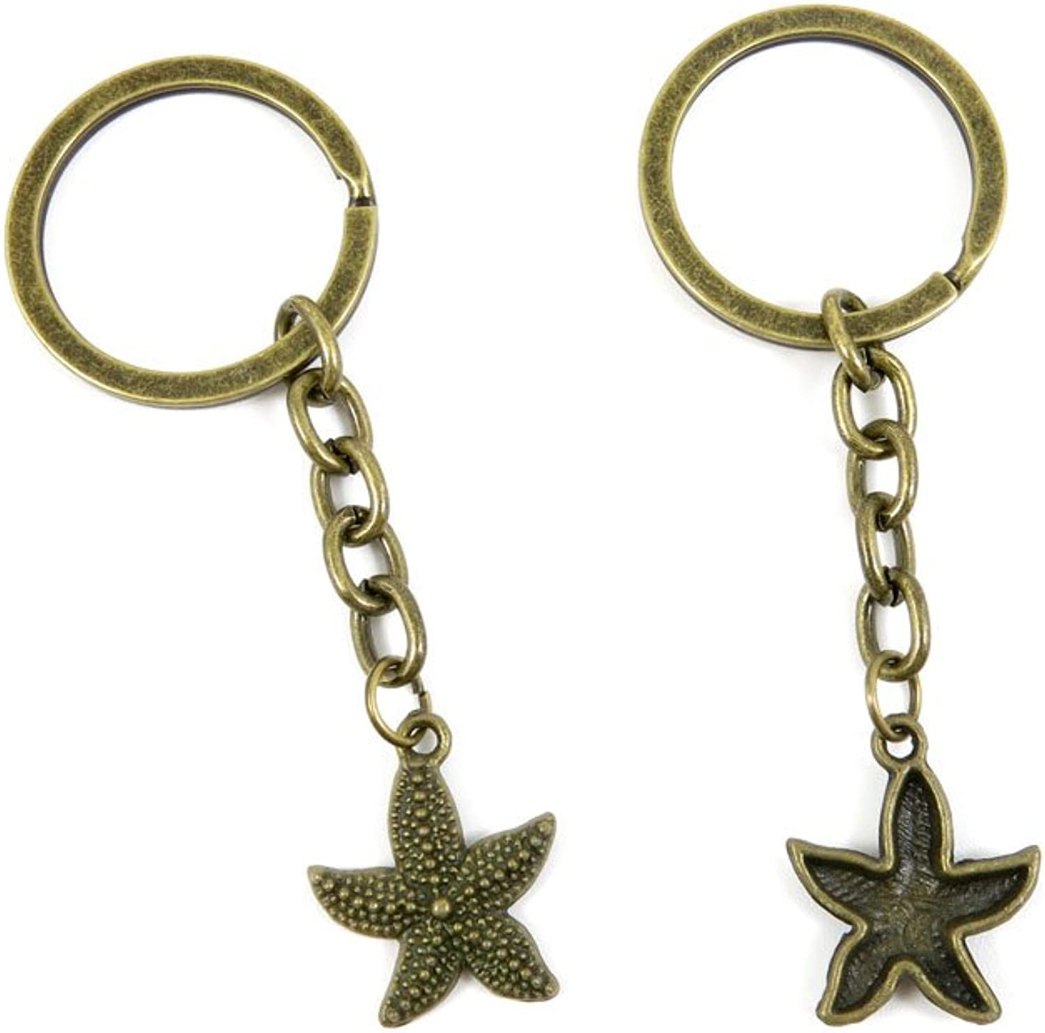 200 Pieces Fashion Jewelry Keyring Keychain Door Car Key Tag Ring Chain Supplier Supply Wholesale Bulk Lots Q4LZ3 Starfish Sea Star