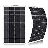 SARONIC Mono Panel Solar ETFE Flexible de 100W y 18V con MC4 para Embarcación, Tienda, Caravana, Automóvil, Remolque o Cualquier otra Superficie Irregular